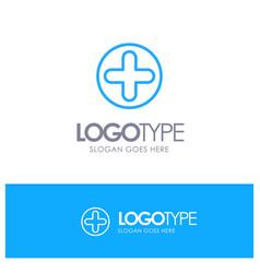 plus sign hospital medical blue outline logo vector image