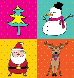 pop art christmas elements vector image