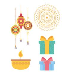 Raksha bandhan bracelets mandala candle gift vector