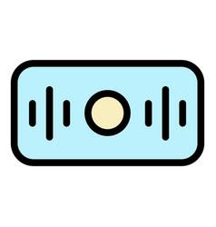Rectangular smart speaker icon color outline vector