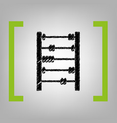 retro abacus sign black scribble icon in vector image