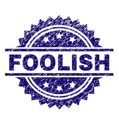 Scratched textured foolish stamp seal vector