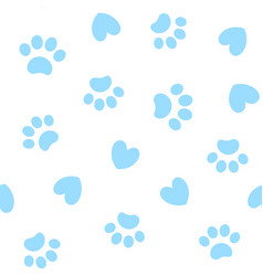 Seamless background with paw prints and hearts vector