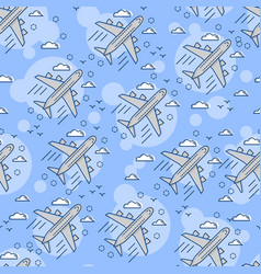 seamless pattern airplane in sky flat and vector image