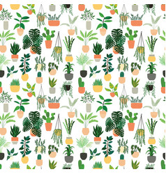 Seamless pattern houseplants hand drawn vector