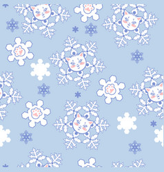 seamless pattern with snowflakes kittens vector image