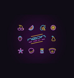 set of fruit icons in the form of neon lamps vector image
