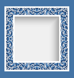 square frame with cutout border ornament vector image