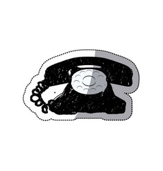 Sticker black silhouette antique phone design with vector
