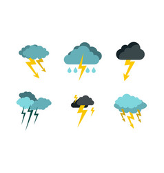 storm cloud bolt icon set flat style vector image