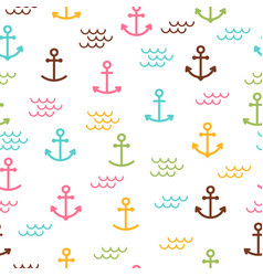 summer sea seamless pattern with anchors cute vector image
