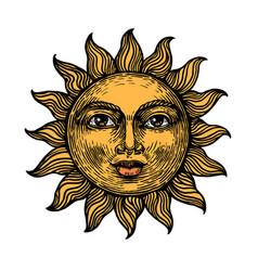 sun with face color sketch engraving vector image
