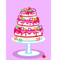 Three tier pink cake vector