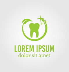 Tooth around which green leaf logo template vector