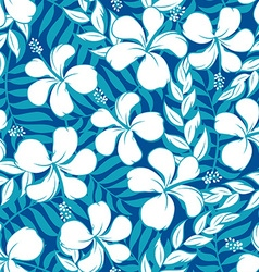 Tropical white and turquoise graphic seamless vector