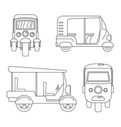 Tuk rickshaw thailand icons set outline style vector