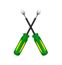Two crossed screwdrivers vector