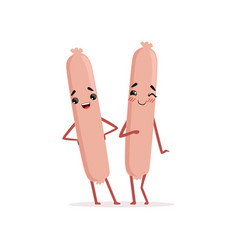 two cute frankfurter sausages standing isolated on vector image