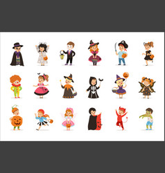Ute little kids in colorful halloween costumes set vector