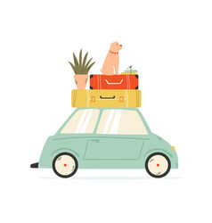 van carrying suitcases flowerpot and dog vector image