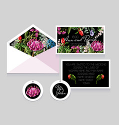 Wedding invitation with tropical flowers vector