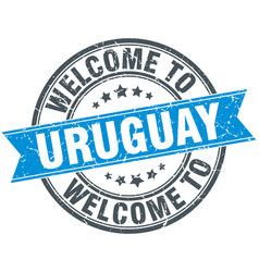 Welcome to uruguay blue round vintage stamp vector