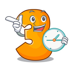 With clock cartoon number three on the wall vector