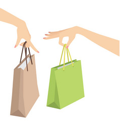 woman hand holding shopping bag vector image