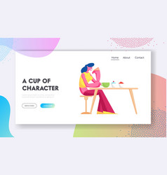 Young woman drinking tea with cake in modern vector