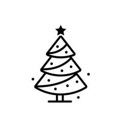 christmas tree line icon sign vector image