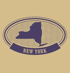 Oval stamp with New York state map contour vector image