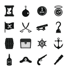 pirate icons set simple style vector image