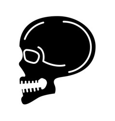 skull front view icon black vector image