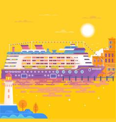 summer travel cruise ship sea landscape vector image vector image
