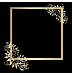 Vintage gold frame on black background vector image
