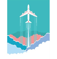 Airplane flying in sky background poster vector image