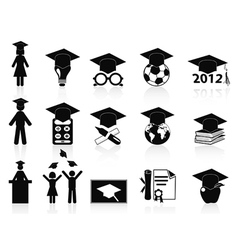 black Graduation icons set vector image vector image