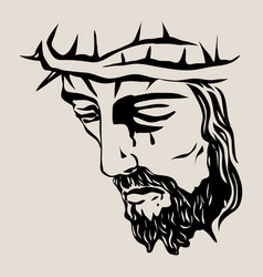 christ face vector image vector image