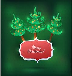 Christmas tree bright greeting card vector