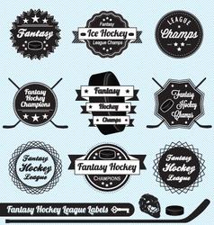 Fantasy Hockey League Champions Labels vector image