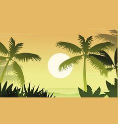 Forest scenery with palm silhouettes vector