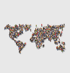 group of people in form of world map vector image vector image