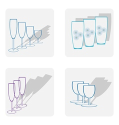 monochrome icon set with stemware vector image vector image