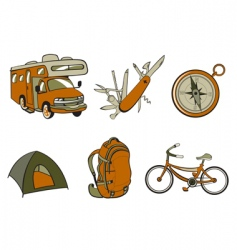 outdoor and camping icons vector image vector image