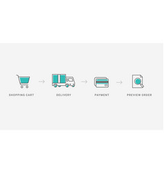 outline checkout icons vector image vector image