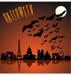 Paris halloween silhouette vector