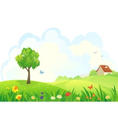 Spring rural day vector image vector image