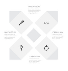 icon accessories set of wedding looking-glass vector image vector image