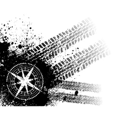 Tire tracks with wind rose vector