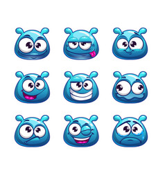 funny cartoon blue jelly monster vector image vector image